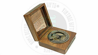 New Vintage Maritime Antique Brass Sundial Compass Nautical Decor  Free Shipping
