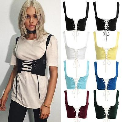 Lace Up Women Wide Waist Belt Vest Corset Bandage Waistband Vintage Elastic H8A1