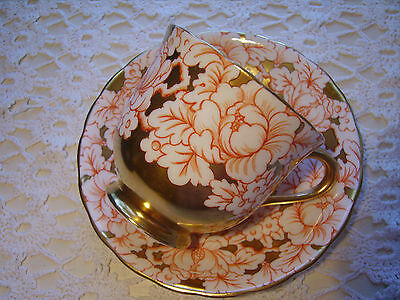 Older Victoria C&E Bone China Tea Cup & Saucer Hand Painted Peony Red & Gilt