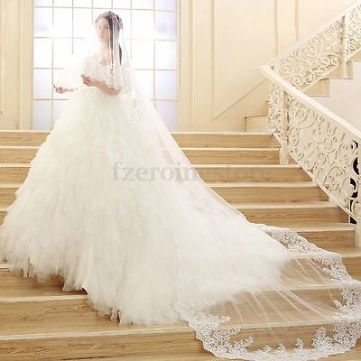3M 1 Tier Bridal Cathedral Wedding Veil Elegant Lace Applique Edge Floor Length