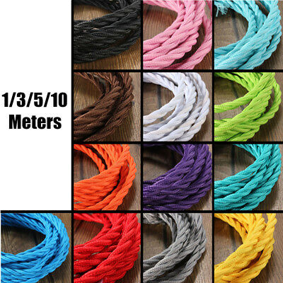 1-10M Coloured Vintage Twisted 3 Core Italian Fabric Lighting Flex Cable Cord
