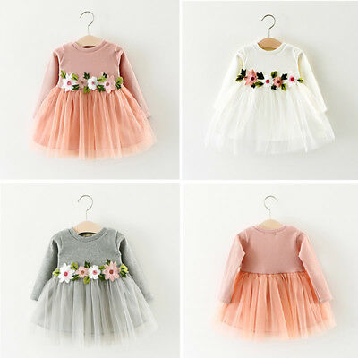 Kids Newborn Baby Girl Bowknot Princess Party Wedding Dress Short Sleeve Tutu