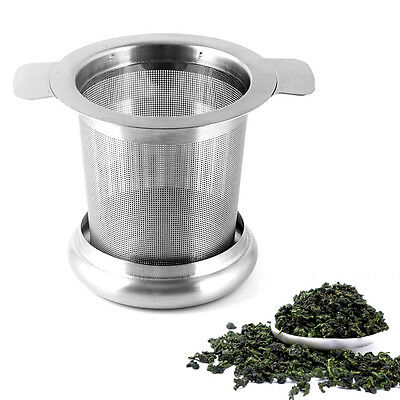 Tea Infuser Filter Strainer Sieve with Lidas Drip Tray Metal Stainless Steel UK