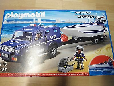 playmobil set 5187 polizeiauto mit bootsanh nger neu. Black Bedroom Furniture Sets. Home Design Ideas
