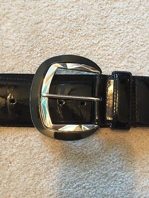 White House Black Market Size M Black Elastic Belt With Metal Buckle