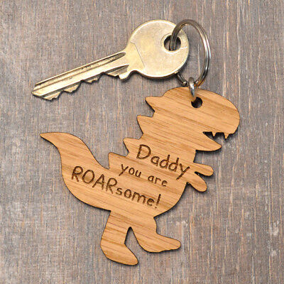 Daddy You Are ROARsome - Cute Dinosaur T-Rex Wooden Fathers Day Keyring For Dad