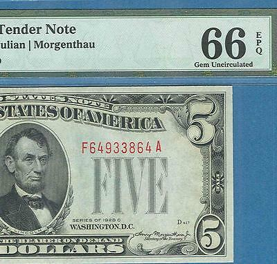 $5.00 1928-C  Legal Tender  Red Seal United States Note Pmg Gem New 66Epq