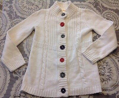 Gymboree White Cardigan Sweater Sz M 7/8 Penguin Collection Thick Long Fit Top