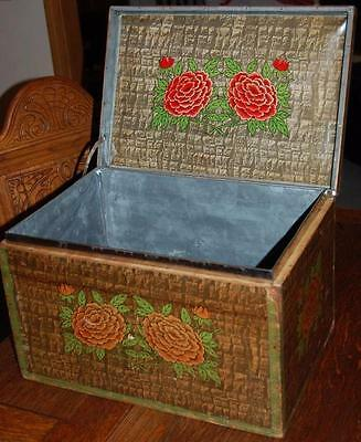 Antique Japanese Asian Paper Covered Tin lined Wood Tea Storage Shipping Box