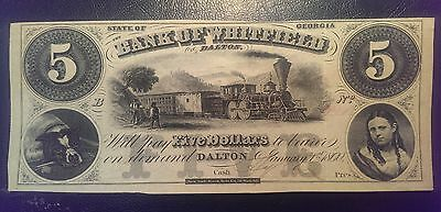 1860 $5 Bank of Whitefield Obsolete Note Georgia