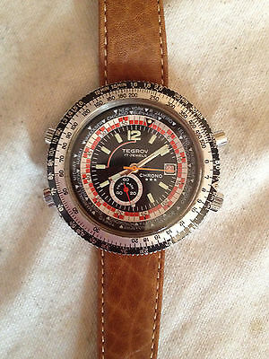 VINTAGE TEGROV (SORNA?) WORLD TIMER WATCH 1970's CHRONO CHRONOGRAPH SWISS MADE