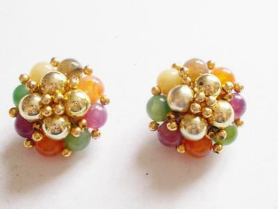 VINTAGE 1960's COLOURFUL LUCITE BEAD CLUSTER GOLD TONE CLIP ON EARRINGS