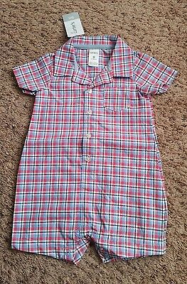 NWT Carter's Baby Boy Romper Short Sleeve Plaid Size 9 mo