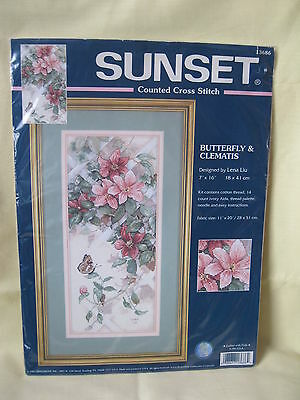Butterfly & Clematis counted cross stitch kit, 18x41cm, by Lena Liu for Sunset