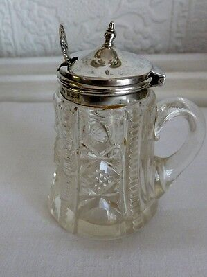 Silver topped mustard Pot with Spoon hallmarked Birmingham 1922
