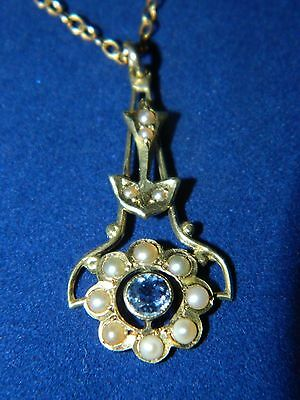 Antique Art Nouveau 1910 1920's Gold Amythest Seed Pearl 10k Necklace 14kPendant