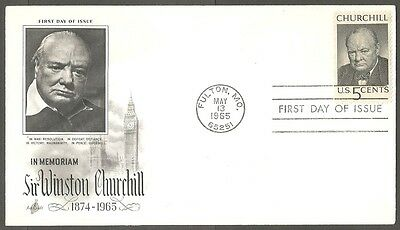 Us Fdc 1965 Sir Winston Churchill 5C Stamp In Memoriam First Day Of Issue Cover