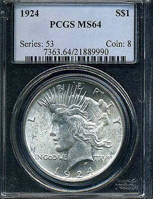 1924 Peace Liberty Head Silver Dollar Pcgs Ms64