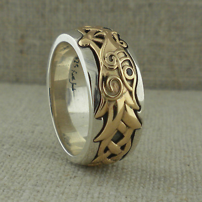Sterling Silver & 10K Celtic Dragon w White Sapphire Ring KEITH JACK Size 8.5