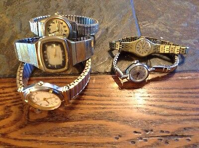 Lot of 5 Gold Vintage Women's Watches-Bulova/Casio/Timex/Seiko