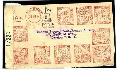 W224a 1944 CEYLON WW2 Spectacular Multiple Die Meter Franking Commercial Airmail
