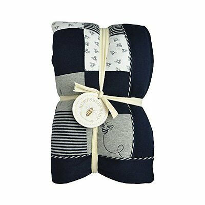 Burts Bees Baby Organic Reversible Quilt, Blueberry Mini Check/Wide Stripe