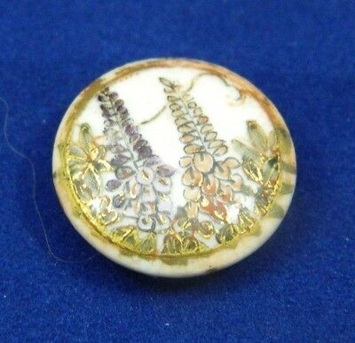 Antique Satsuma Button FOXGLOVE Japan Gold Border