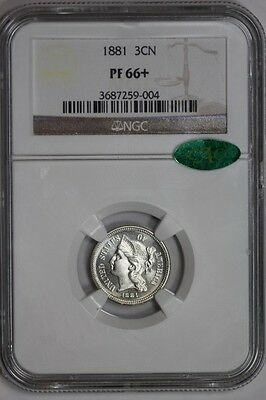 1881 Three Cent Nickel PF66+ NGC CAC Approved 3c Coin U.S. Mint