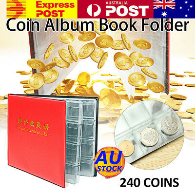 AU 240 Coin Collection Storage Holder Portable Money Penny Pocket Book Folder