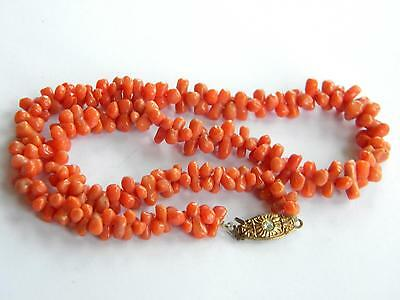 antique necklace genuine CORAL beads natural ~ 20g~