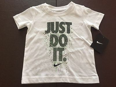 NWT Boys Toddler Nike JUST DO IT Short Sleeve T-Shirt 3T White 76B087-001 $18
