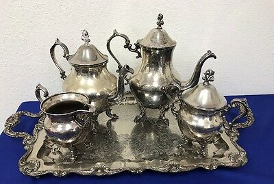ENGLISH SILVER MFG CO Silver Plate Tea Coffee Set + Tray Made in USA (A4)