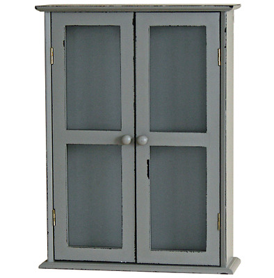 Wall Mounted Cupboard Storage Display Cabinet Double Door Shelf Kitchen Vintage