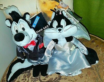 "Warner Brothers Studio Pepe & Penelope Le Pew Bride & Groom 9"" Plush Bean Bags"