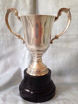 Silver Plate Vintage Trophy 7.25 Inches Dolphin Handles Not Engraved