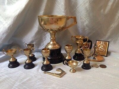 Lots Of Silver Plate Vintage Trophy Cups