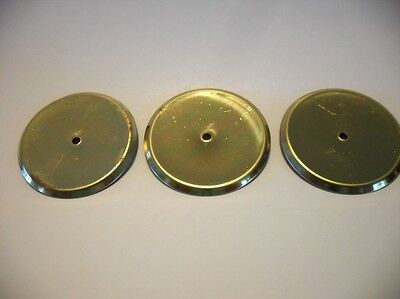 "Three Vintage BRASS Round Knob BACK PLATE 2-3/8"" Diameter Beveled Edge Amerock"