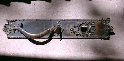 Antique DOOR HANDLE & BACK PLATE w/Thumb Lever, Cylinder Hole BRASS 19-5/8""
