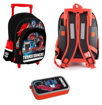 TRANSFORMERS Trolley - Backpack Double Tier Filled Pencil Case Gym Bag OPTIMUS P