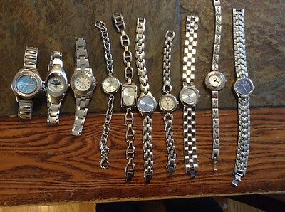 Lot of 10 Women's Silver Watches/Divers/Geneva/Mudd/Paul Jarvin