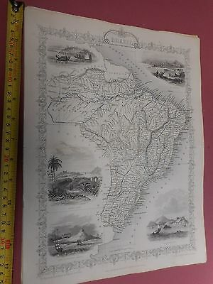 100% Original Brazil Amazon Rio Map By Montgomery/tallis C1865 Vgc