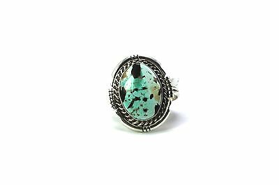 Navajo Handmade Thunder Mountain Turquoise Sterling Silver Ring Size 10-S.SKEETS