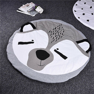Cotton Kids Baby Infant Play Crawl Game Cartoon Mat Round Carpet Home Blanket