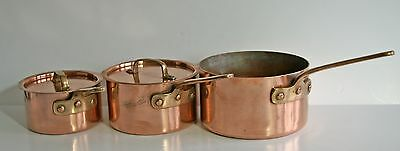 Vintage set of 3 copper saucepans 2 with lids, brass handles with hanging holes