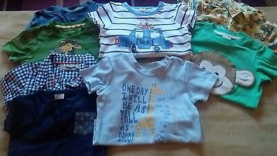 Quality Baby Boys Bundle 9 - 12 Months T Shirts / Shirts/Jeans/ Cardigans/Tops
