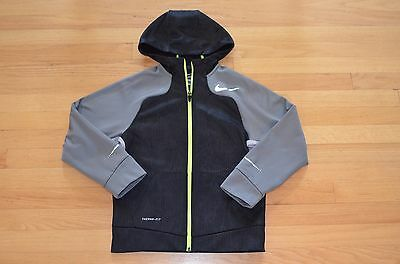 NIKE Pro Training Therma Fit Boys Youth Black/Gray Full Zip Hoodie - YMD M