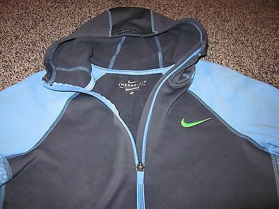 Nike Therma Fit Blue/gray & Neon Green Full Zip Hoodie Sweat Jacket Sz S Boys Xl