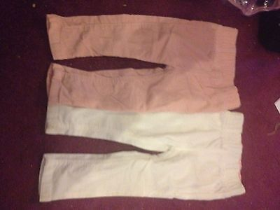 2 Pairs 9-12 Months Girls Trousers