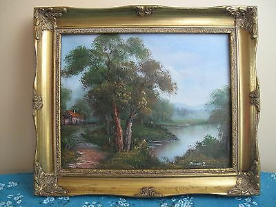 Original Oil Painting On Canvas Landscape signed Moore with Gold Wooden Frame