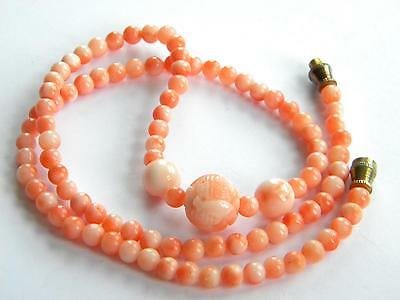 beautiful necklace genuine pink CORAL beads 1x CARVED central bead
